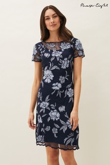 Phase Eight Blue Hanna Floral Embroidered Dress