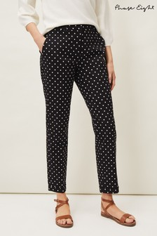 Phase Eight Black Bea Spot Tapered Trousers