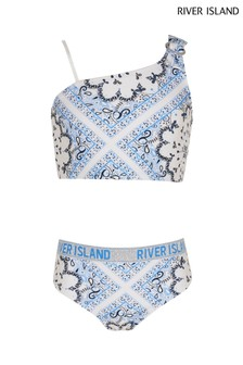 River Island Blue Paisley Pattern One Shoulder Crop Top