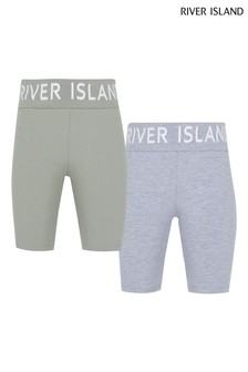 River Island Khaki Foldover Cycle Shorts 2 Pack