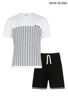 River Island White Blocked Stripe Knit Set