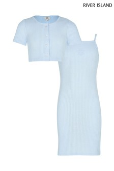 River Island Blue Rib Dress With Cardigan