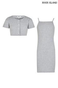 River Island Grey Rib Dress With Cardigan