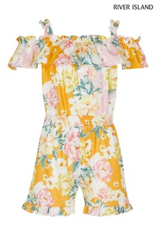 River Island Yellow Floral Playsuit