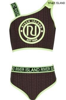 River Island Brown Sporty Monogram Bikini