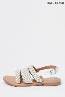 River Island White Pearl Embellished Flat Sandals