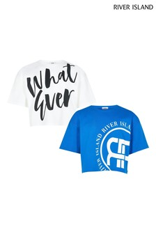 River Island Blue Whatever T-Shirts 2 Pack