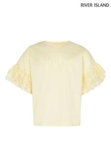 River Island Yellow Plisse Frill T-Shirt