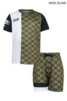 River Island Khaki Mono Block Mesh Shorts Set