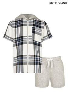 River Island Navy Check Hooded Shirt 2 Piece Set