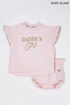 River Island Pink Daddys Bloomer Set