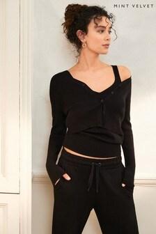 Mint Velvet Black V-Neck Knitted Vest Top