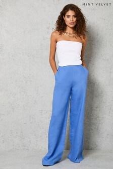 Mint Velvet Blue Linen Wide Leg Trousers