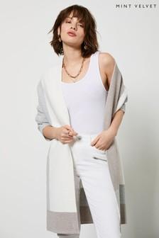 Mint Velvet Off-White Block Long Cardigan