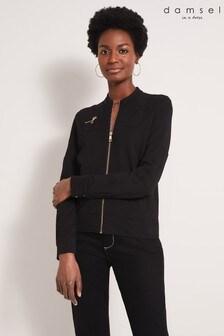 Damsel In A Dress Black Jola Zip Pocket Jersey Jacket
