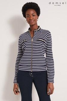 Damsel In A Dress Blue Coco Stripe Jersey Jacket
