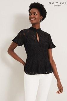 Damsel In A Dress Black Lulu Lace Top