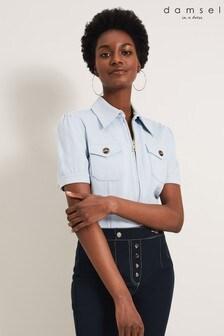 Damsel In A Dress Blue Kadie Short Sleeve Top