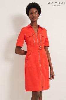 Damsel In A Dress Orange Athena Zip Dress