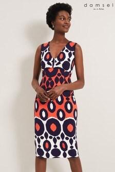 Damsel In A Dress Orange Olga Abstract Print Dress