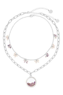Kate Thornton Silver Amethyst Locket Necklace