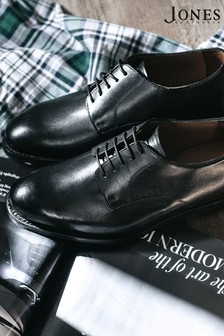 Jones Bootmaker Black Wide Fit Goodyear Welted Men's Leather Derby Shoes