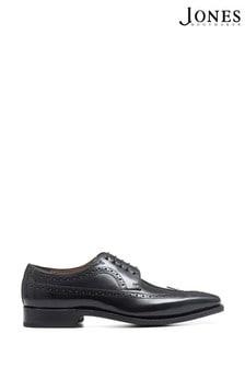 Jones Bootmaker Black Goodyear Welted Men's Leather Derby Brogue Shoes