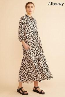 Albaray Floral Leopard Tiered Midi Dress