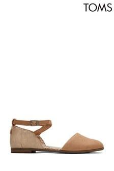TOMS Cream Julie Ankle Strap Flat Shoes