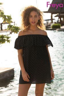 Freya Black Jewel Cove Off Shoulder Bardot Dress