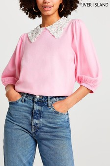 River Island Pink  Pearl Collar Jumper