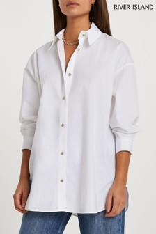 River Island White Cinched In Oversized Shirt