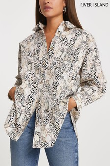 River Island Cream Cinched In Oversized Shirt