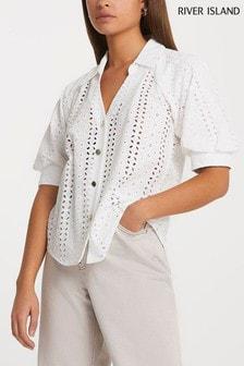 River Island White Broderie Shirt