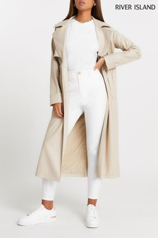 River Island White Twill Molly Skinny Trousers