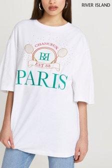River Island White Paris Tennis Oversized T-Shirt