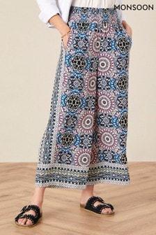 Monsoon Leighton Printed Wide Leg Trousers