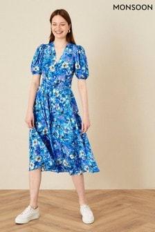 Monsoon Floral Print V-Neck Shirt Dress