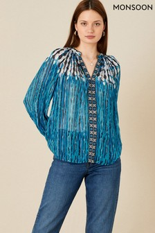 Monsoon Feather Print Embellished Top