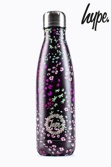 Hype. Black Floral Ditsy Metal Reusable Bottle