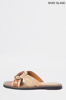 River Island Cream Cross Vamp Sandals