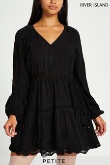 River Island Petite Black Long Sleeve Broderie Dress