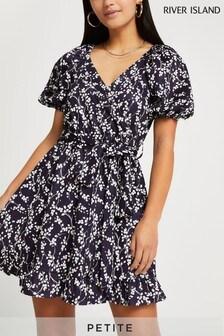 River Island Petite Navy Long Sleeve Belted Wrap Mini Dress