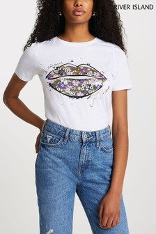 River Island White Floral Lips T-Shirt
