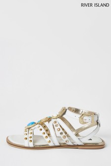 River Island White Hardware Gladiator Sandals