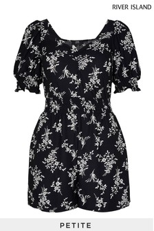 River Island Petite Black Short Sleeve Floral Shirred Waist Playsuit