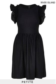 River Island Petite Black Short Sleeve Frill Sleeve Midi Dress