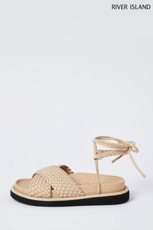 River Island Cream PU Weave Sandals