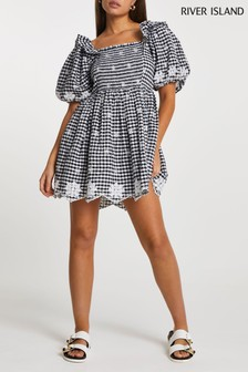 River Island Black Puff Gingham Embroidered Dress