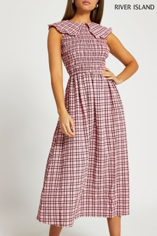 River Island Pink Bright Sleeveless Collar Gingham Midi Dress